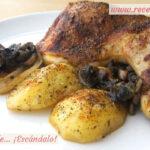 Pollo asado al horno con champiñones