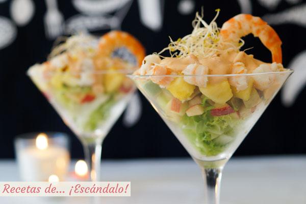 C ctel de marisco tropical con pi a y salsa rosa casera receta f cil para navidad recetas de - Coctel de marisco ingredientes ...